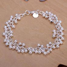 Chaud! vente en gros pour femmes/hommes bracelet plaqué argent 925 mode bijoux en argent Bracelet à breloques givré raisin bracelet SB232