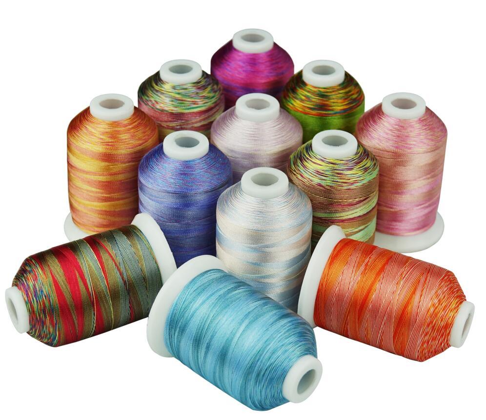 12 خيط تطريز متنوع متعدد الألوان 1000 متر لكل آلة/خياطة يدوية لحف رفع تردد على أي ماكينة منزلية