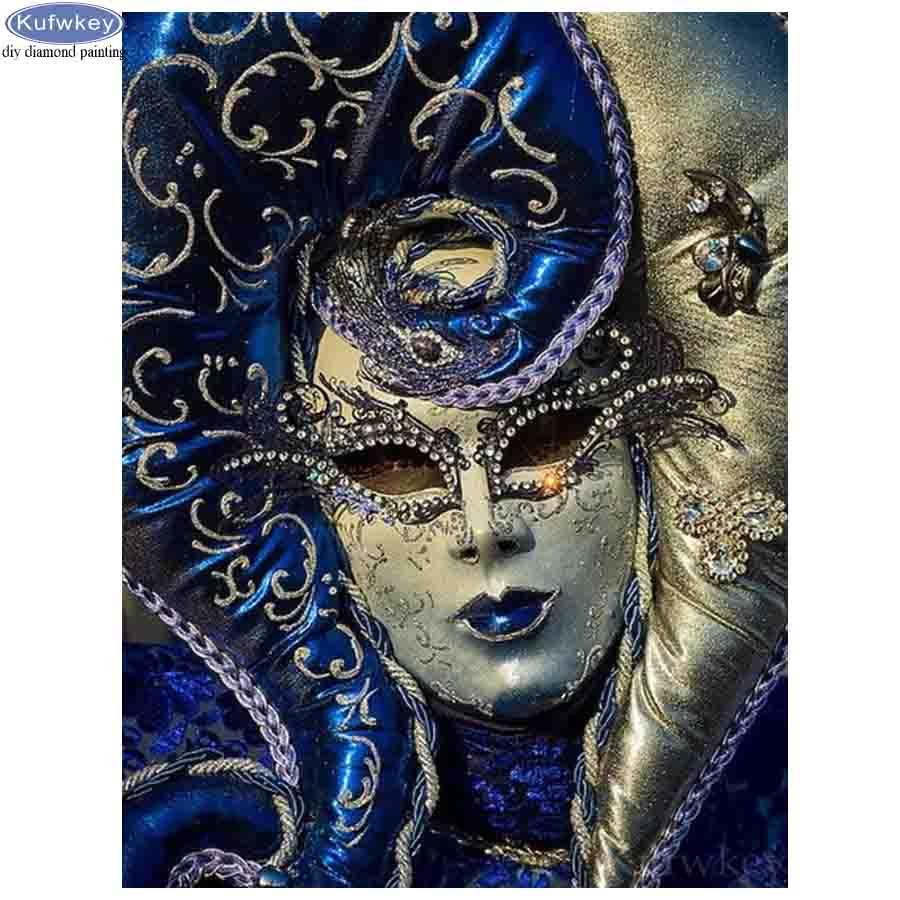 Adesivo de parede pintura diamante ponto cruz 5d diamante bordado máscara mulher pintura strass quadrado completo broca mosaico kits