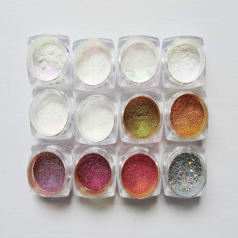1 box Chamäleon Spiegel Nagel Glitters Shinning Pulver Wunderschöne Nagel-kunst Chrom Pigment Maniküre Staub Nagel Kunst Dekorationen