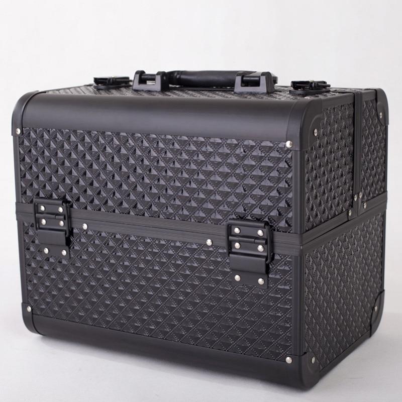 Profesional de aluminio PVC de uñas herramientas de maquillaje belleza caso cosmético bolso de múltiples niveles caja de joyería bloqueable regalo de maleta de viaje