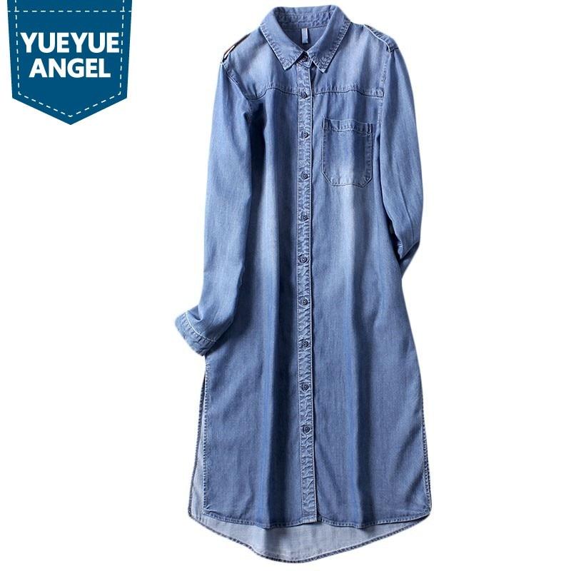 European Slim Fit Women Shirt Casual Long Denim Shirt Female Autumn Long Sleeve Lapel Collar Tops Streetwear Jean Shirts M-XL