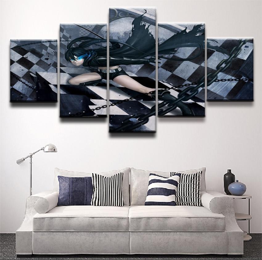 Cuadros de pintura en lienzo Arte de la pared Decoración cuadros 5 Panel Anime negro Rock Shooter cadena chica para sala de estar impresiones al óleo para dormitorio