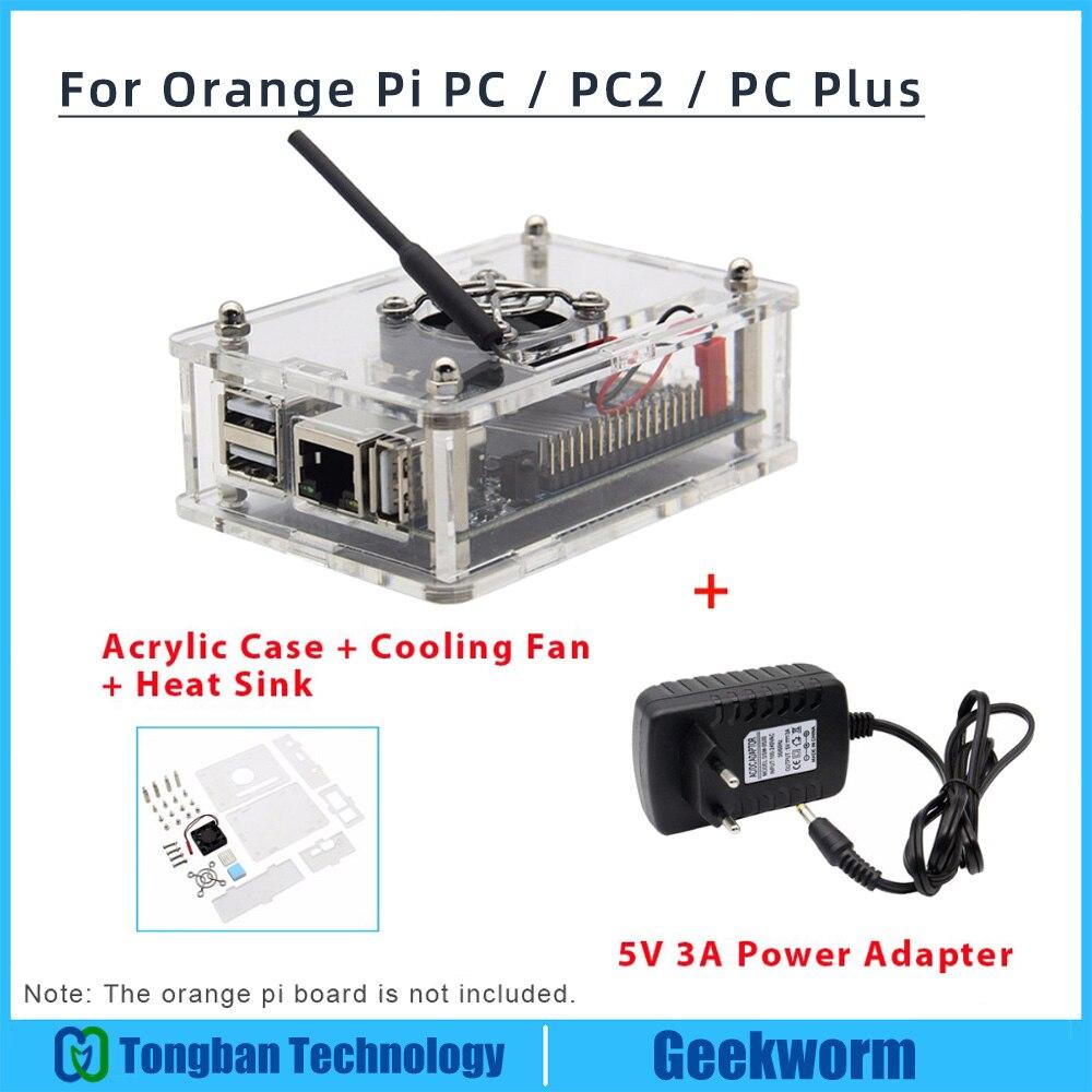Апельсиновый Pi PC/PC2/PC Plus акриловый чехол + адаптер питания EU 5 в 3 А + вентилятор охлаждения + радиатор, стартовый набор Orange Pi Kit