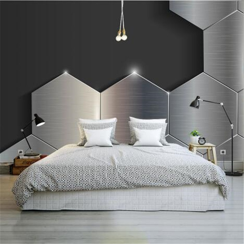 Papel pintado de foto personalizado moderno papel tapiz de Textura Negra gris 3D para paredes pared estereoscópica de Metal 3D murales para sala de estar decoración del hogar