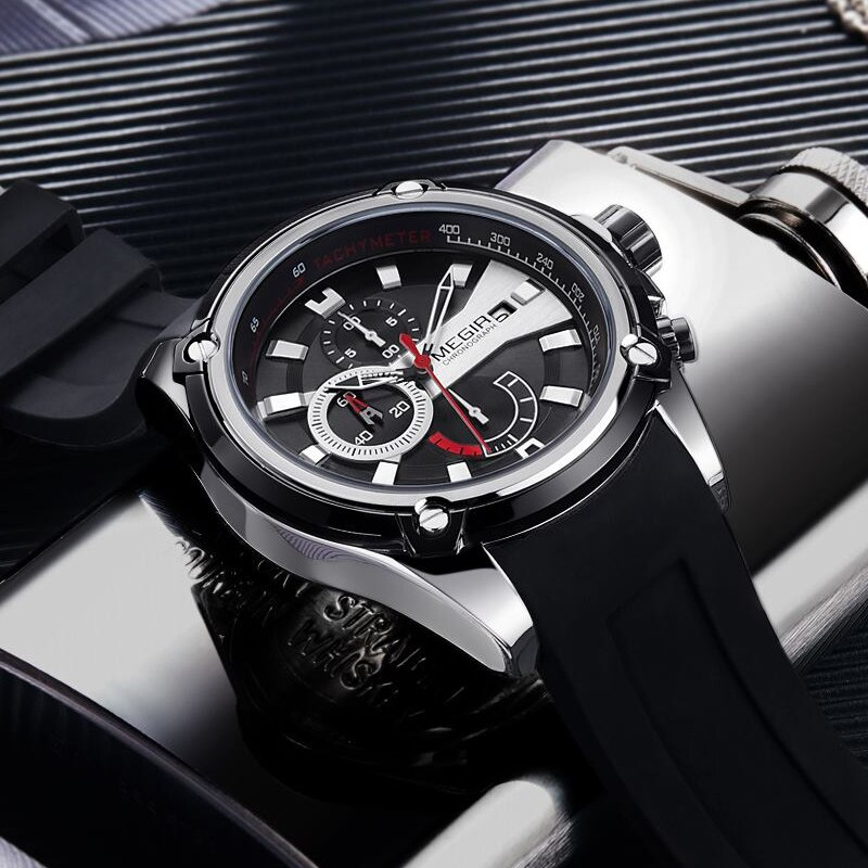 Relojes deportivos MEGIR a la moda para hombre, Correa impermeable de silicona, reloj de pulsera de cuarzo, cronógrafo, reloj analógico, reloj Masculino
