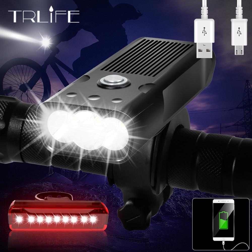 مصباح الدراجة الهوائية, 5200 TRLIFE مللي أمبير مصباح دراجة 3 * L2/T6 USB قابل لإعادة الشحن مصباح IPX5 مصباح أمامي LED مقاوم للماء كباور بانك MTB ملحقات الدرا...