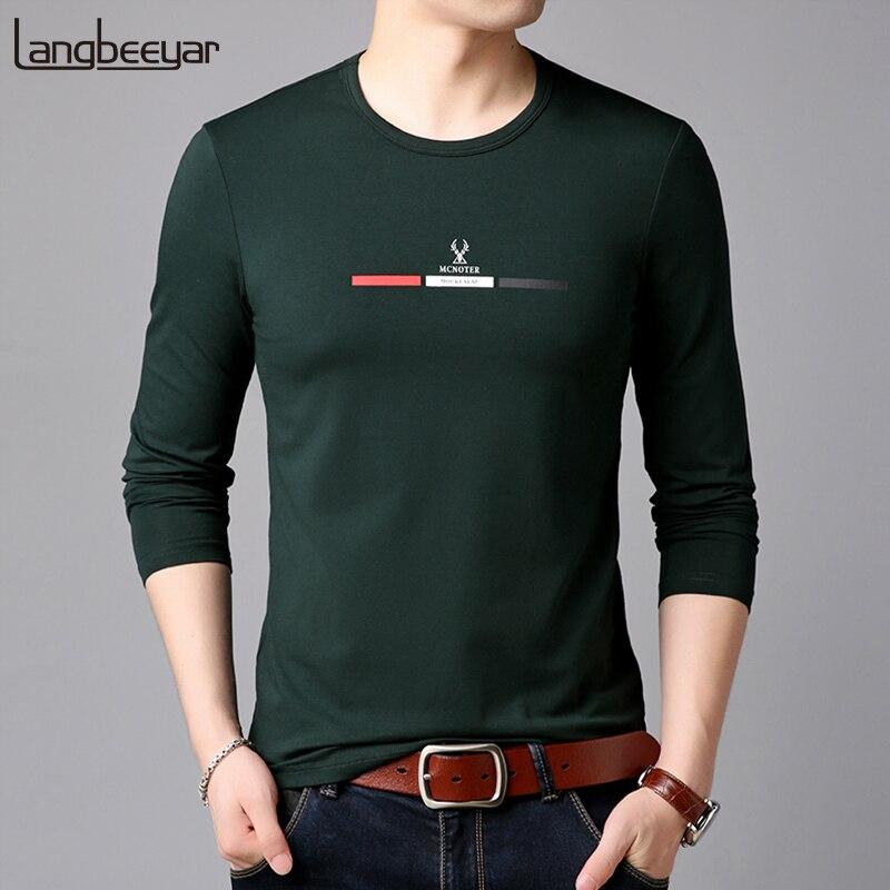 2020 New Fashion Brand Tshirt Mens Slim Fit Print High Quality Trends Street Wear Tops Korean Long Sleeve Tee Men Clothes
