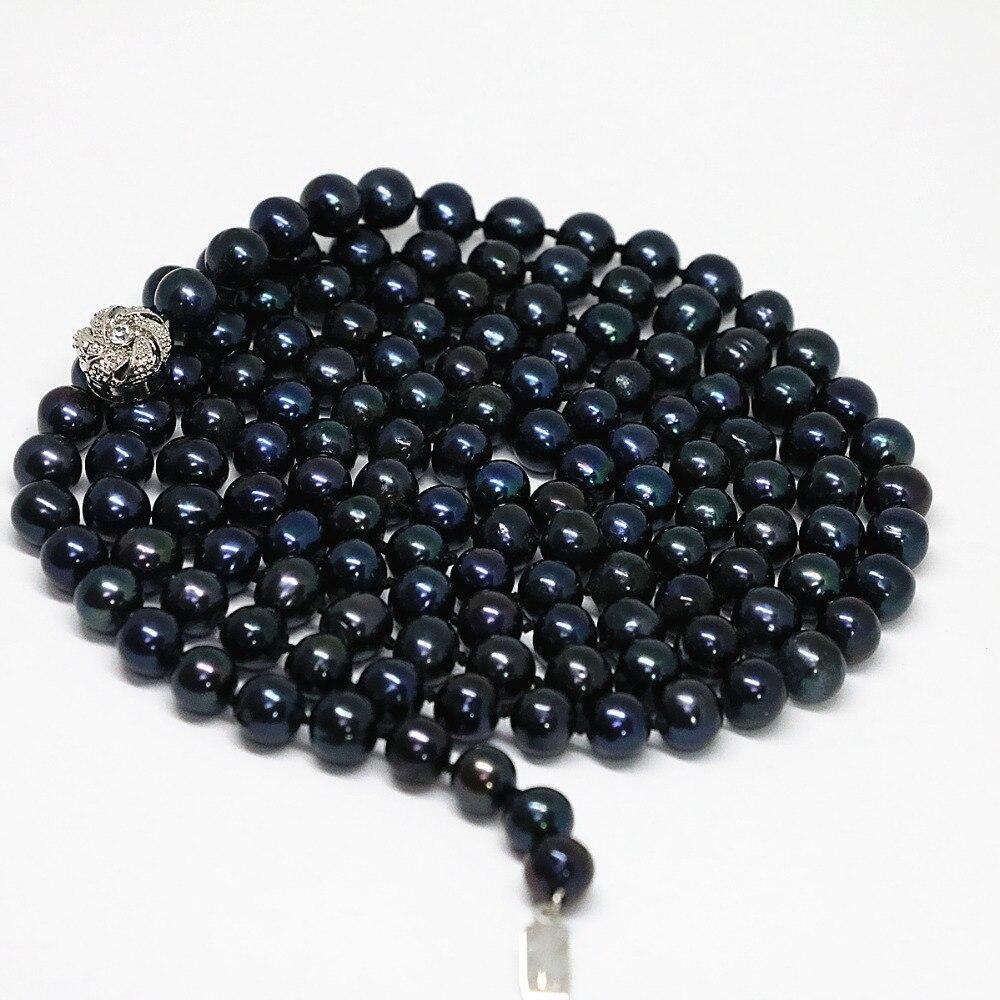 رومانسية الأسود مثقف المياه العذبة اللؤلؤ 8-9 ملليمتر الطبيعي جولة الخرز الكلاسيكية العصرية سلسلة طويلة قلادة مجوهرات 50 بوصة b1474