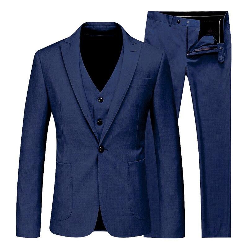 Juego de 3 piezas de Blazers clásicos Laamei para hombre, chaqueta de negocios para hombre, chaleco y pantalones, conjunto de trajes para primavera y otoño, conjunto de boda Delgado