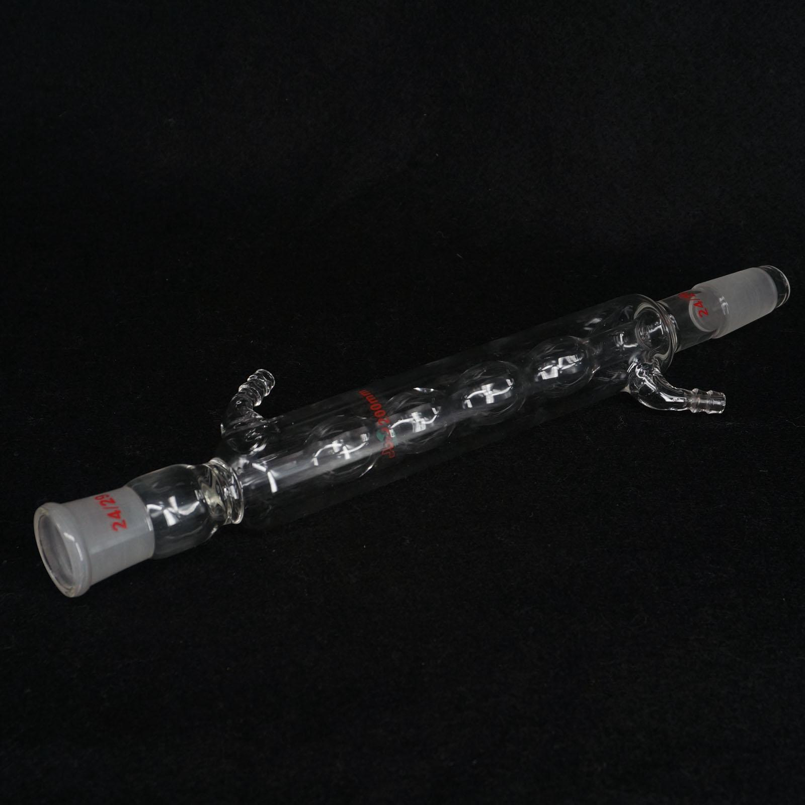 200mm 24/29 Joint Allihn Glass Condensers Socket Bulb Distillation Lab Glassware