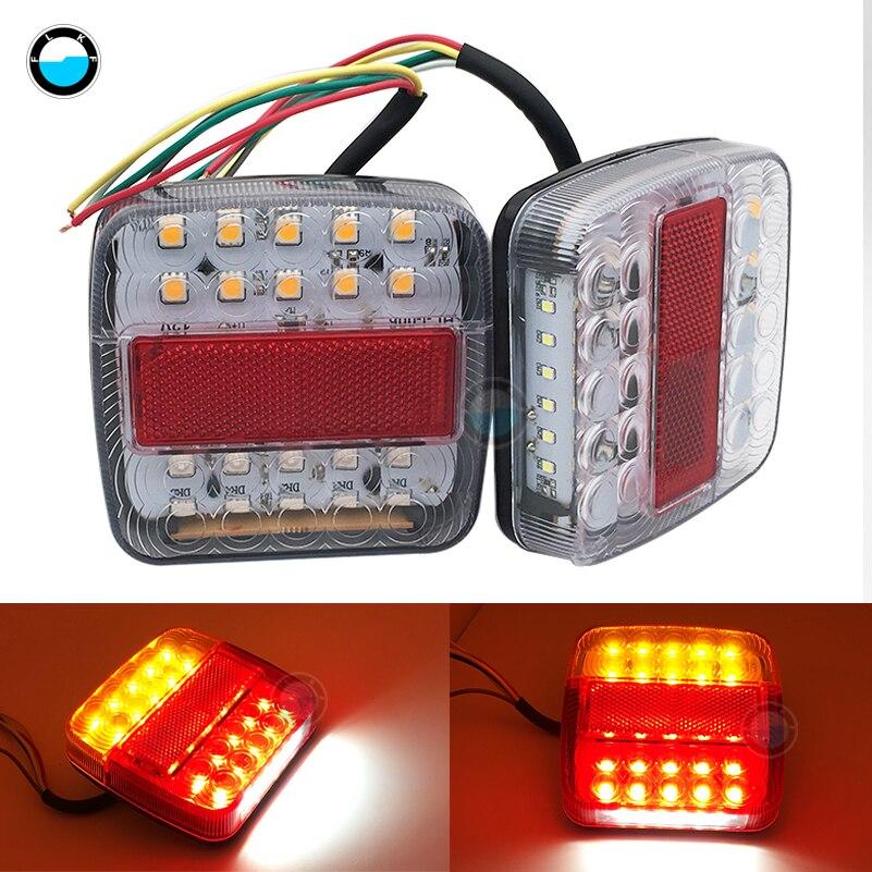 2 uds 26 luces LED de advertencia de luz trasera de coche y camión luces traseras 6LED número de matrícula Luz de camioneta marcha atrás.