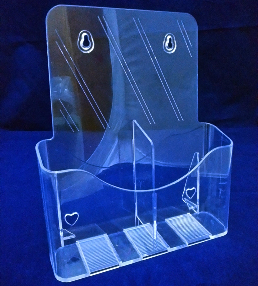 Clear A6 2 Pockets Plastic Acrylic Brochure Literature Pamphlet Display Holder Racks Stand To Insert Leaflet 40pcs Good Quality