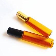100 pc/lot brun rouleau sur 1ml 2ml 3ml 5ml 10ml 12ml vide ambre rouleau boule verre parfum bouteille avec aluminium or noir bouchon