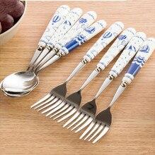 Manche en céramique à vent marin   À base de Blues, cuillère en acier inoxydable, Kit de fourchette, vaisselle créative ensemble de dîner 4 pièces/lot