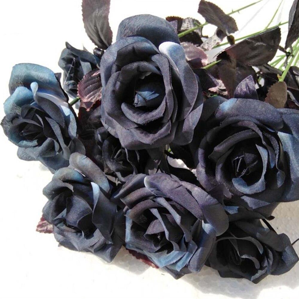 Искусственный букет из черной розы, 9 шт./компл., для Хэллоуина, одна ветка, имитация дома, черная роза, искусственный цветок для Свадьбы вечер...