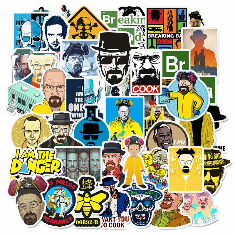 Pegatinas de Breaking Bad, diseño creativo, pegatinas de pared para portátil, 50 unidades