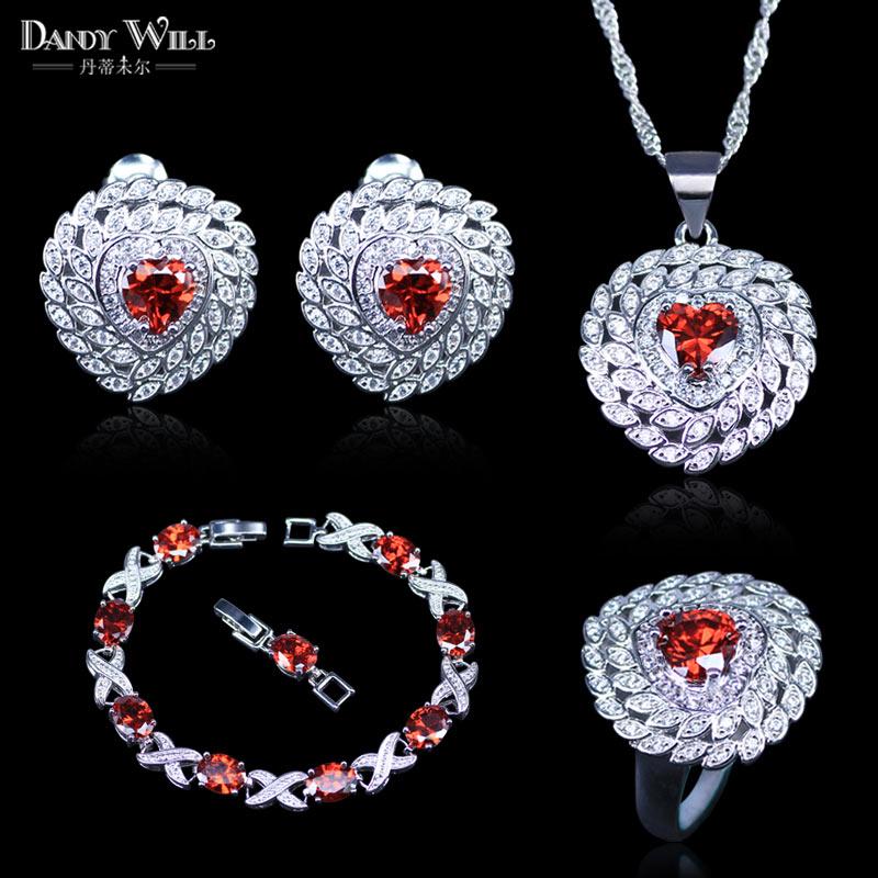 Red Garnet White Zircon Princess Wedding Jewelry Set Silver Color Women Earrings Ring Necklace Pendant Bracelet Sets
