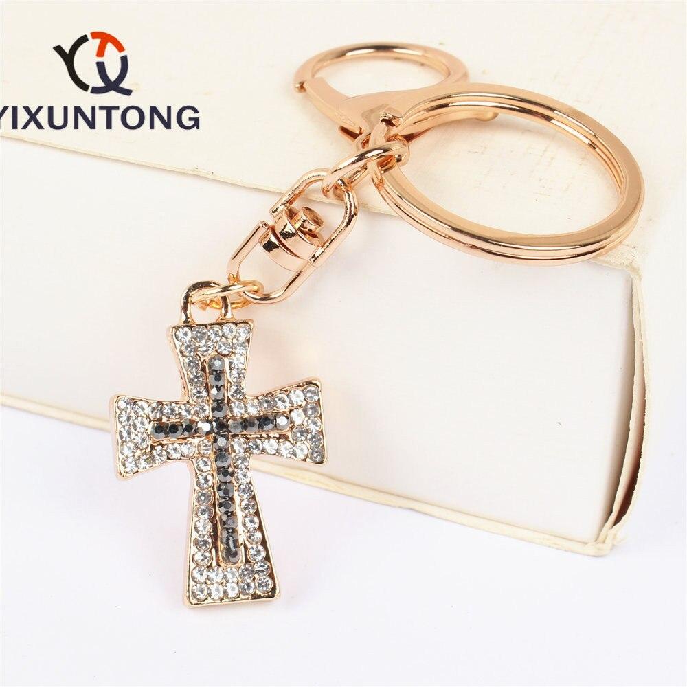 Cruz Diez colgante encanto Diamante de imitación cristal bolso llavero boda fiesta amante amigo Carkey regalo