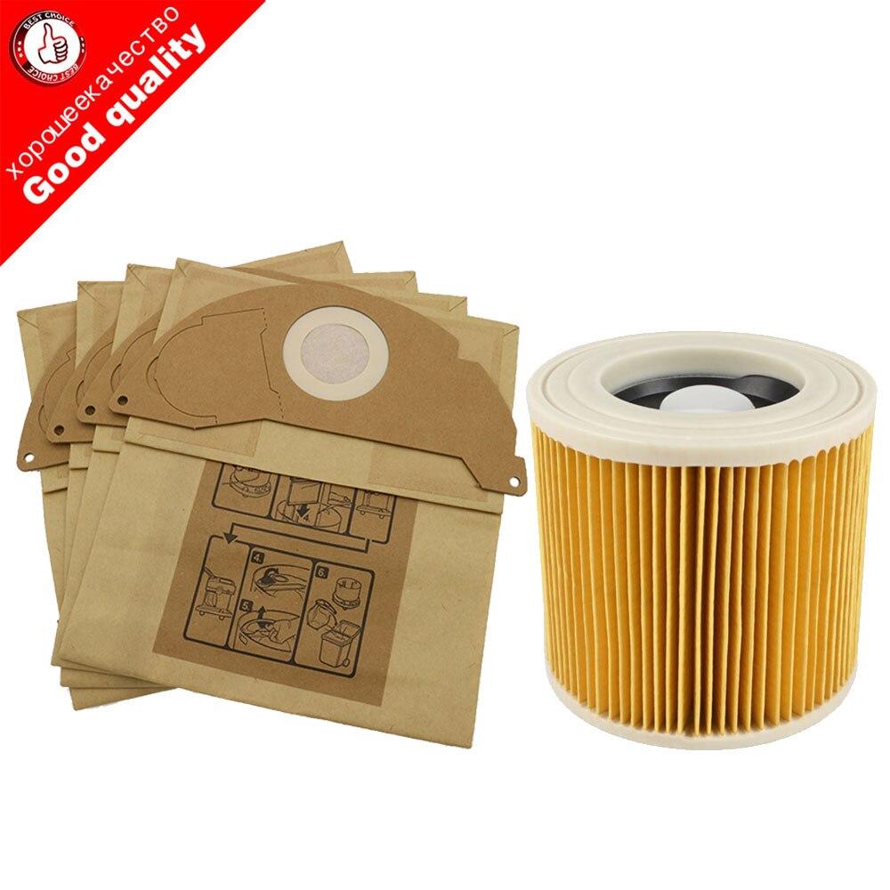 6 бумажных пакетов + 1 Пылезащитный фильтр Hepa для пылесосов Karcher части картриджа HEPA фильтр WD2250 WD3.200 MV2 MV3 WD3