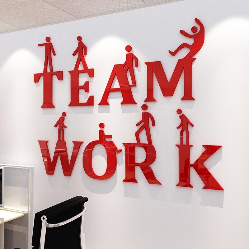 Teamwork Inspirational Slogan 3D Stereo Muurstickers Bedrijfscultuur Wanddecoratie Kantoor Creatieve Diy Acryl Muur Sticke