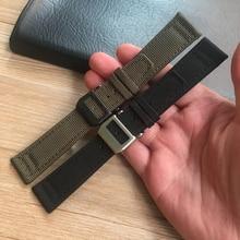 MERJUST 20mm 21mm 22mm Grün Schwarz Nylon Leder Uhr Strap Leinwand Uhr band Für IWC PORTUGIESER CHRONOGRA mark Armband