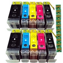 10x Cartouches Dencre PGI-5BK CLI-8BK CLI-8C CLI-8M CLI-8Y pour Pixma iP4200 iP4500 iP5100 iP5200 iP7500 iP7600 imprimante