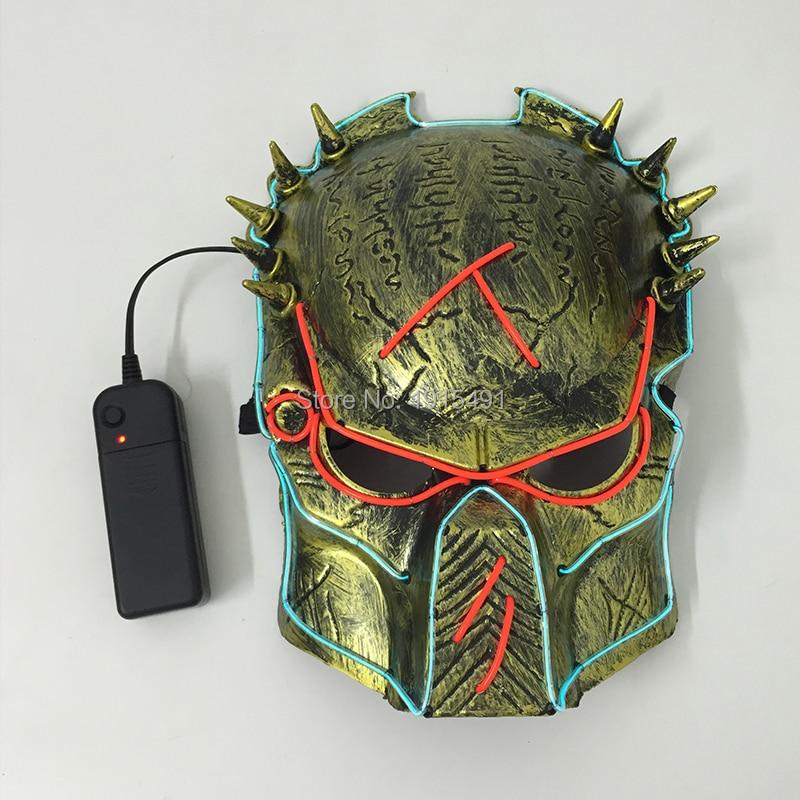 Película diseño de dibujos animados neón Led película tema Predator máscara concierto vacaciones luces EL frío jungla Hunter figura de máscara con unidad