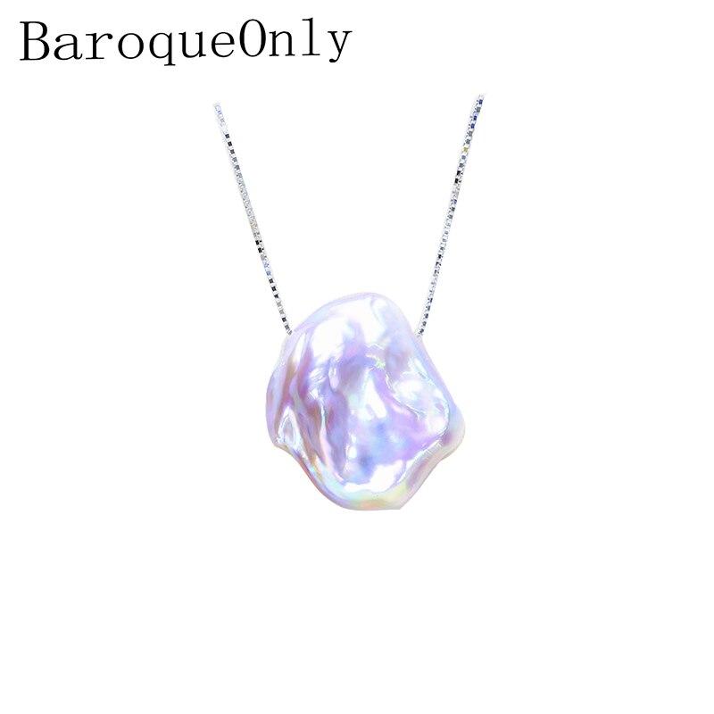 BaroqueOnly фиолетовый подвесной светильник, 15-20 мм, из стерлингового серебра 925 пробы, с плоским жемчугом в стиле барокко
