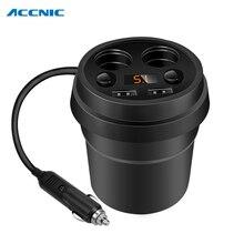 Chargeur de voiture 2 USB DC/5V 3.1A   Tasse, prise de puissance, adaptateur allume-cigare, répartiteur de téléphone portable, avec affichage par tension