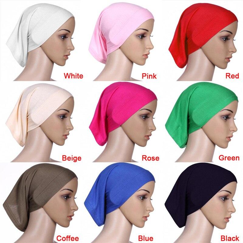 30x24cm 9 Color elástico ajustable musulmán árabe islámico Hijab tubo velo bata Abaya gorros interiores sombreros Modal estiramiento