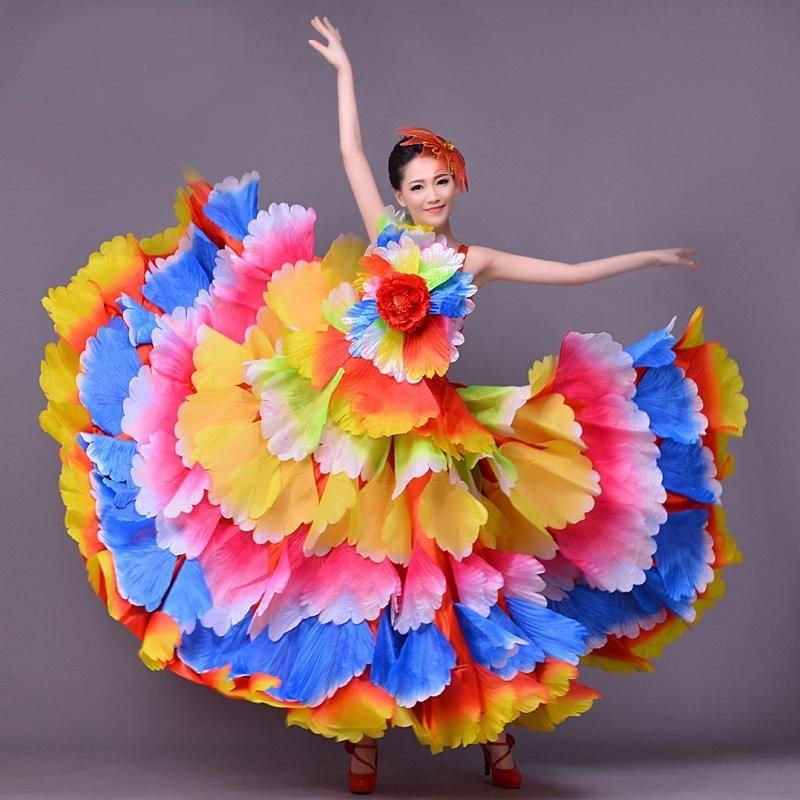Женская юбка для фламенко, современное платье для танцев, платье для экспансии, Современная Одежда для танцев, юбка с лепестками, испанское ...