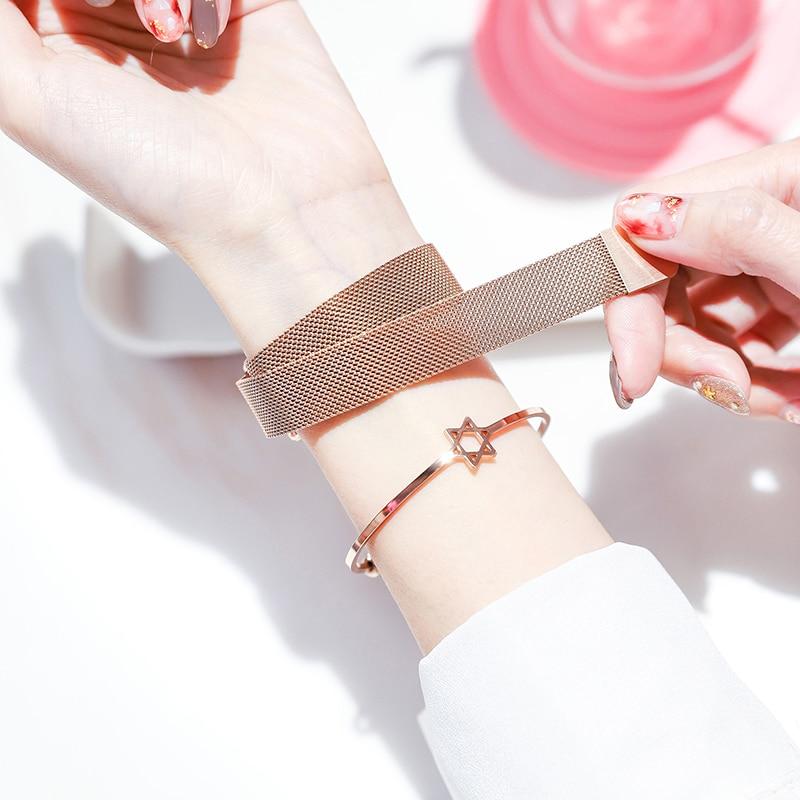 Best Selling Women Mesh Magnet Buckle Starry Sky Watch Casual Luxury Women Geometric Surface Quartz Watches Relogio Feminino+Box enlarge