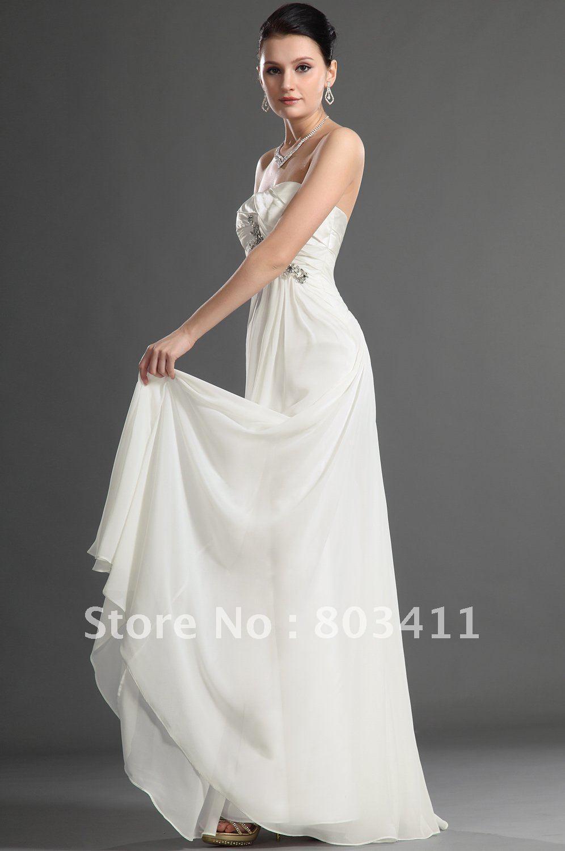 Holiday Sale Charming Empire Strapless Evening Dress White Chiffon