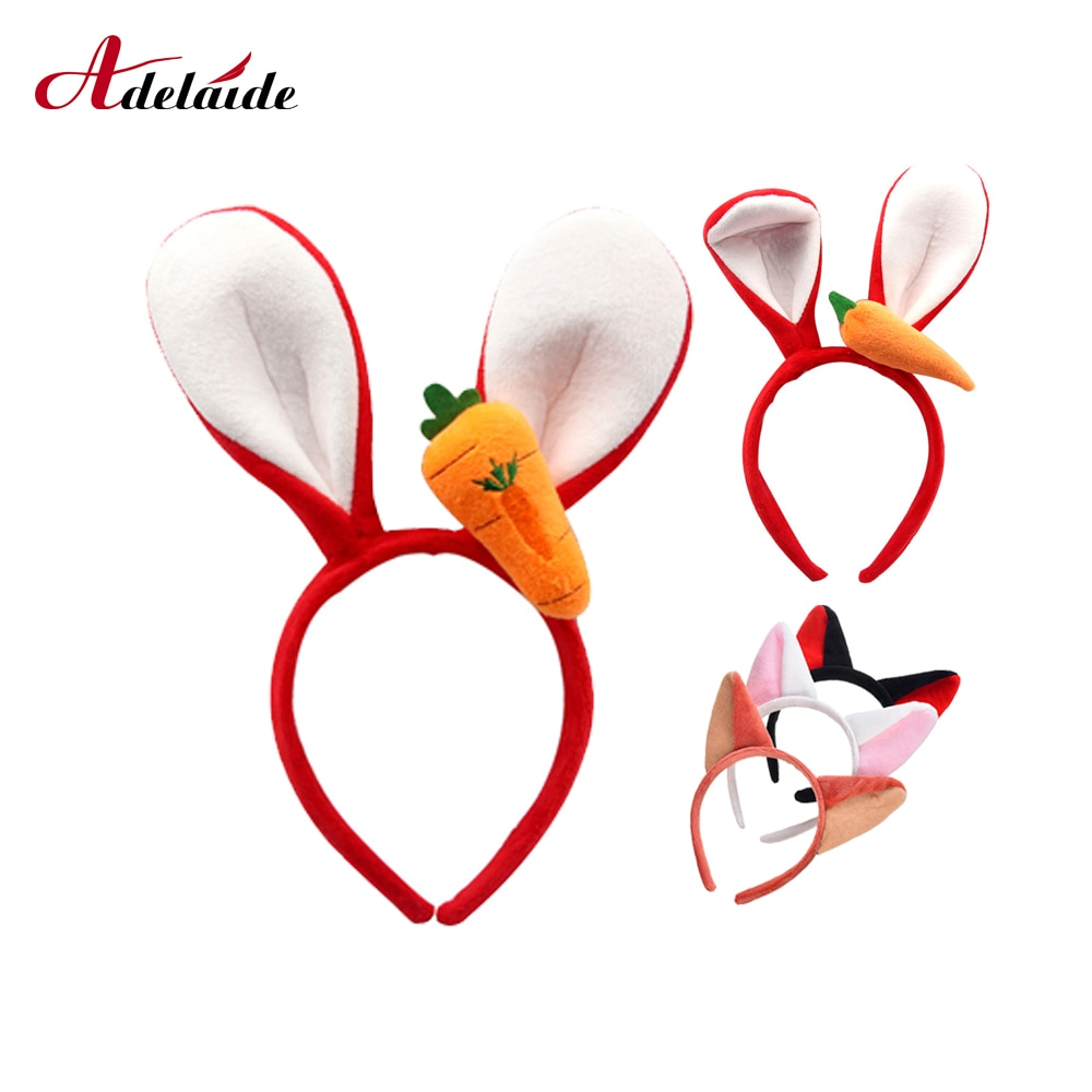 Niñas lindas diadema Orejas de conejo zorro bandas para el pelo suave hecho a mano accesorios para el cabello Aro para mujeres niñas niños fiesta
