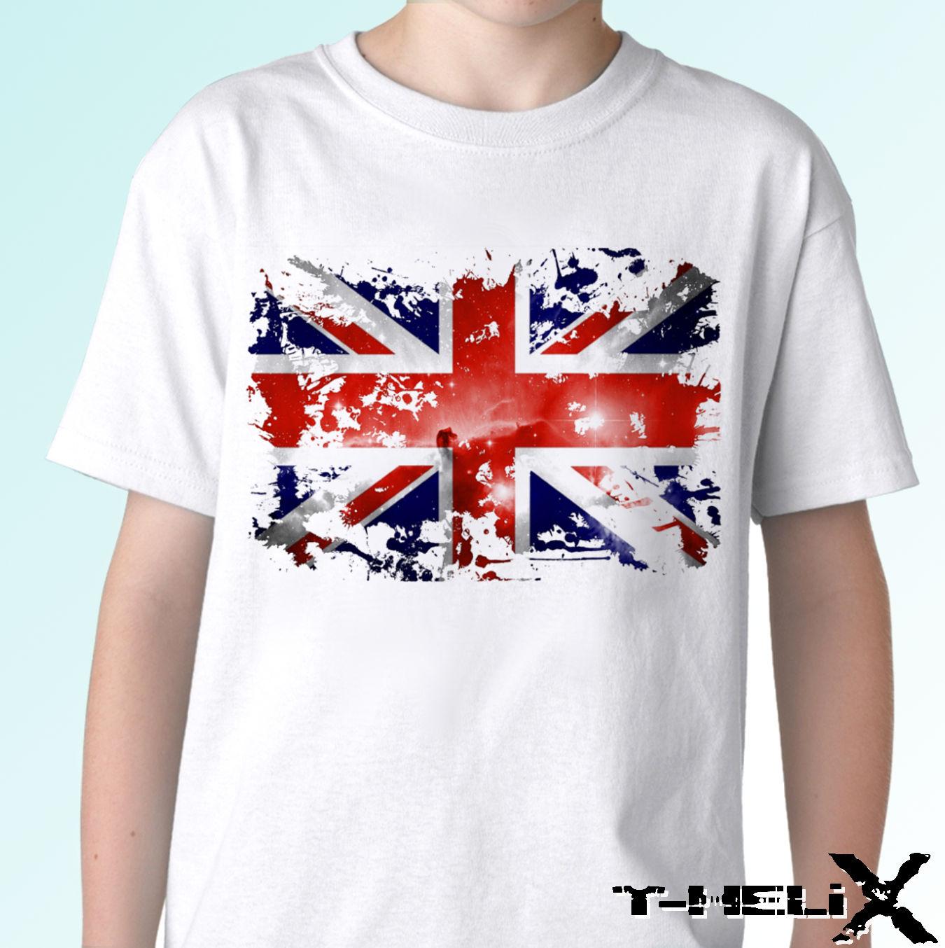 Фото Белая футболка с флагом Великобритании топ ГБ английским дизайном 100% хлопковые