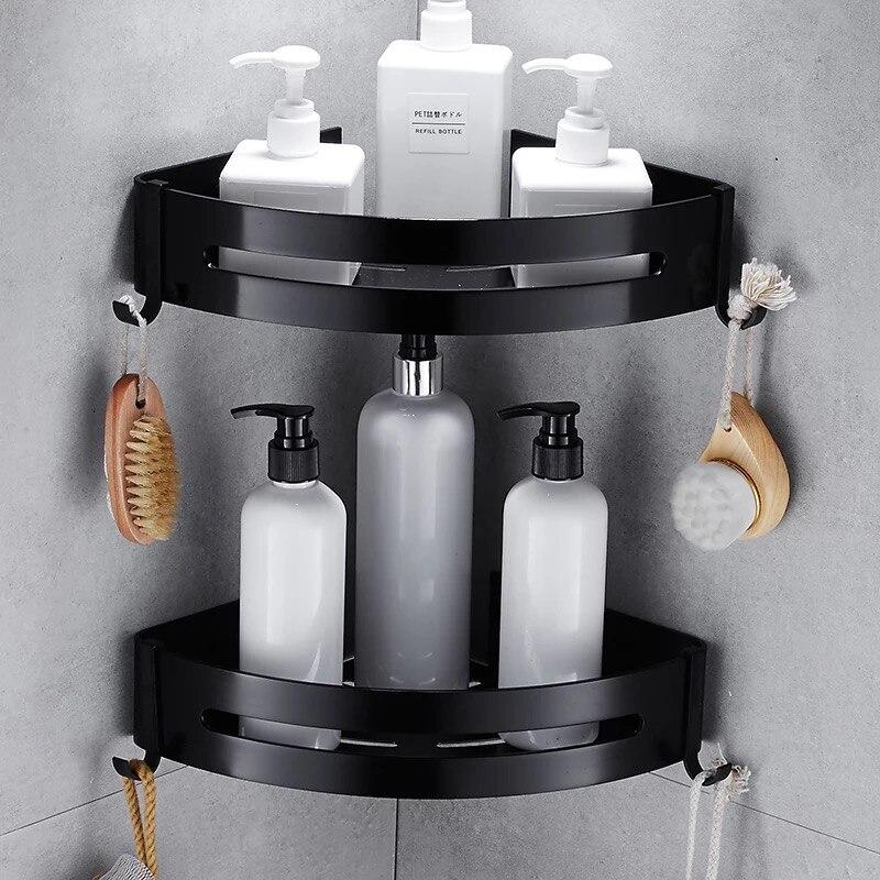 Estante de aluminio negro para baño sin clavos, estante cosmético con Palanca única, cesta de esquina para baño con gancho, estante de baño C