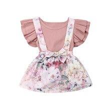 UNS 2 PCS Neugeborenen Baby Kinder Mädchen Rüschen Body Tops + Blume Hosenträger Rock Overalls Kleid Outfits Kleidung 0-3Years