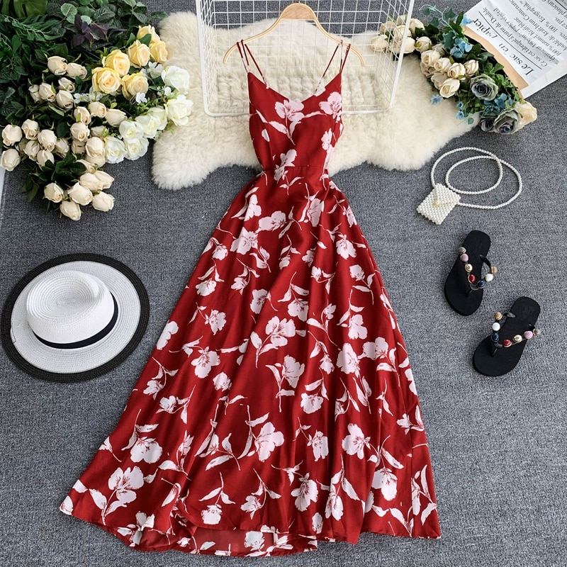 2019 New Sexy Vacation Beach Dress Female Vintage Summer Dress Bohemian Maxi Long Red Floral Runway Dress Chiffon Women
