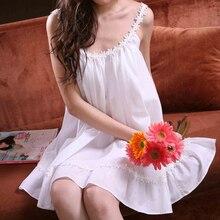 Fashion summer 100% cotton  princess sexy white spaghetti strap nightgown female quality plus size sleepwear lounge skirt 9001