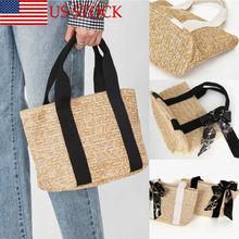 US Fashion Women Beach Straw Woven Bags Rattan Basket Shoulder Bag Purse Handbag