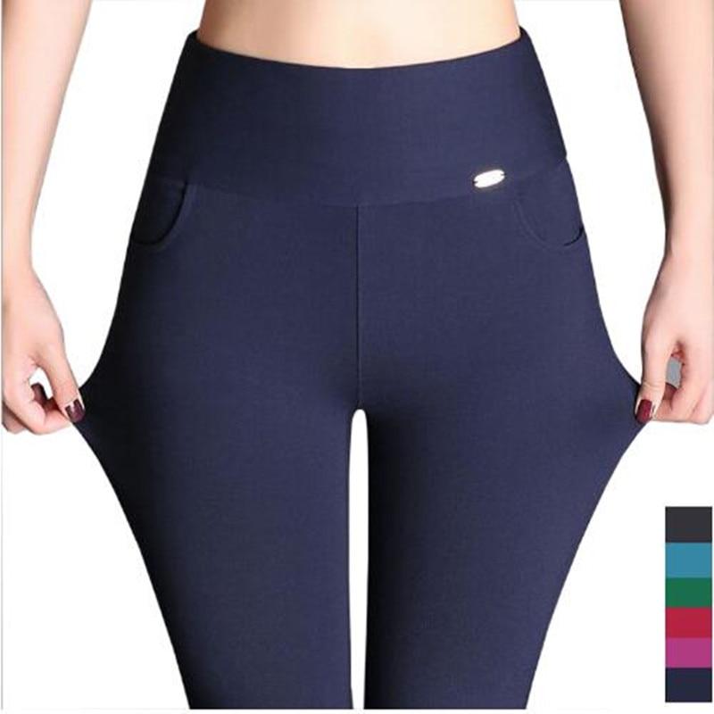 2018 mujeres señoras de talla grande 6XL 5XL alta cintura pantalones Stretch Sexy lápiz Slim Fit Skinny Pantalones negro blanco vino azul Leggings
