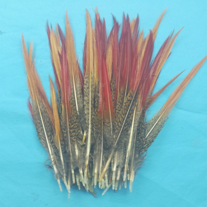 ¿50 Uds?/Lote de hermosas plumas de faisán plumas rojas espada rara pluma principal atado de moscas material accesorios 10-14 CM