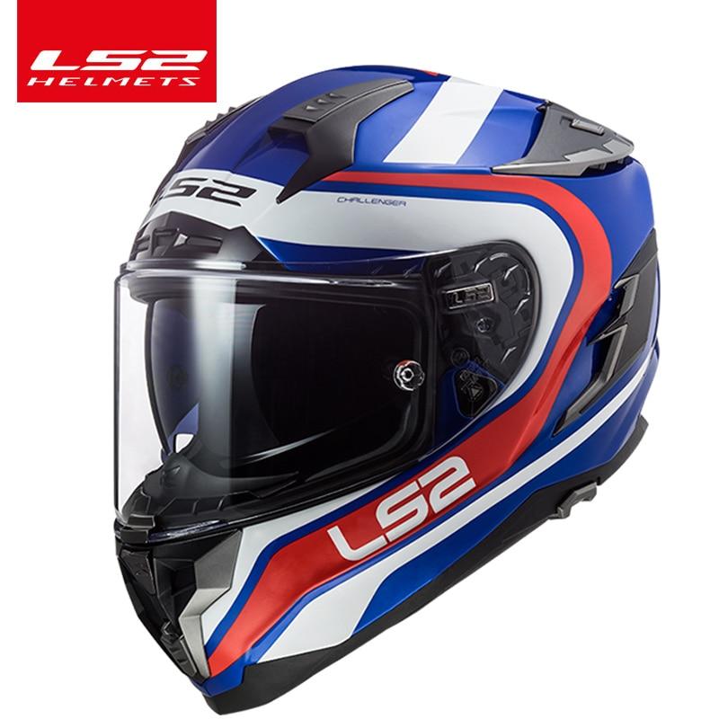 LS2 FF327 casco de motocicleta de fibra de vidrio con doble lente con escudo soleado Interior completo de carreras casco de motocicleta película Anti-niebla Pinloc