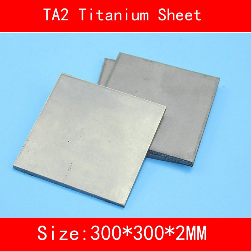 300x300x2MM Pure Titanium Sheet UNS Gr1 TA2 Titanium Ti Plate Industry lab DIY Material ISO standard