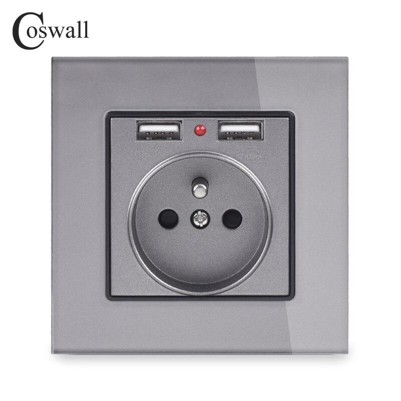 Coswall стеклянная панель с двойным usb-портом для зарядки 2.1A 16A, французская розетка, настенная розетка, серый, белый, черный, золотистый, 4 цвета