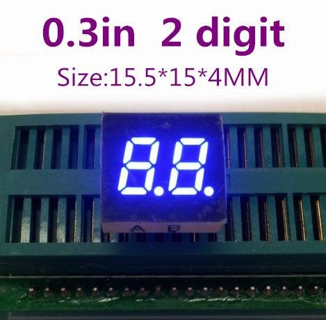 "0.3 polegada dois Segmentos digitais tubo azul 0.3 ""0.3in Digital Tubo 10PIN cátodo ânodo Comum 2 bit 7 Segmento dígitos display led"