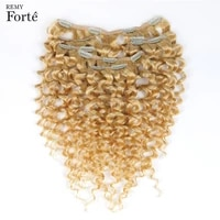 remy forte clip in human hair extensions 613 blonde human hair 7 pcs 115g clip in full head kinky curly clip ins hair clip