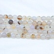 Perle de pierre dagat naturelle blanche et noire, 1 brin, perles rondes et espacées, pour la fabrication de bijoux, conception, vente en gros, Bracelet à bricoler soi-même