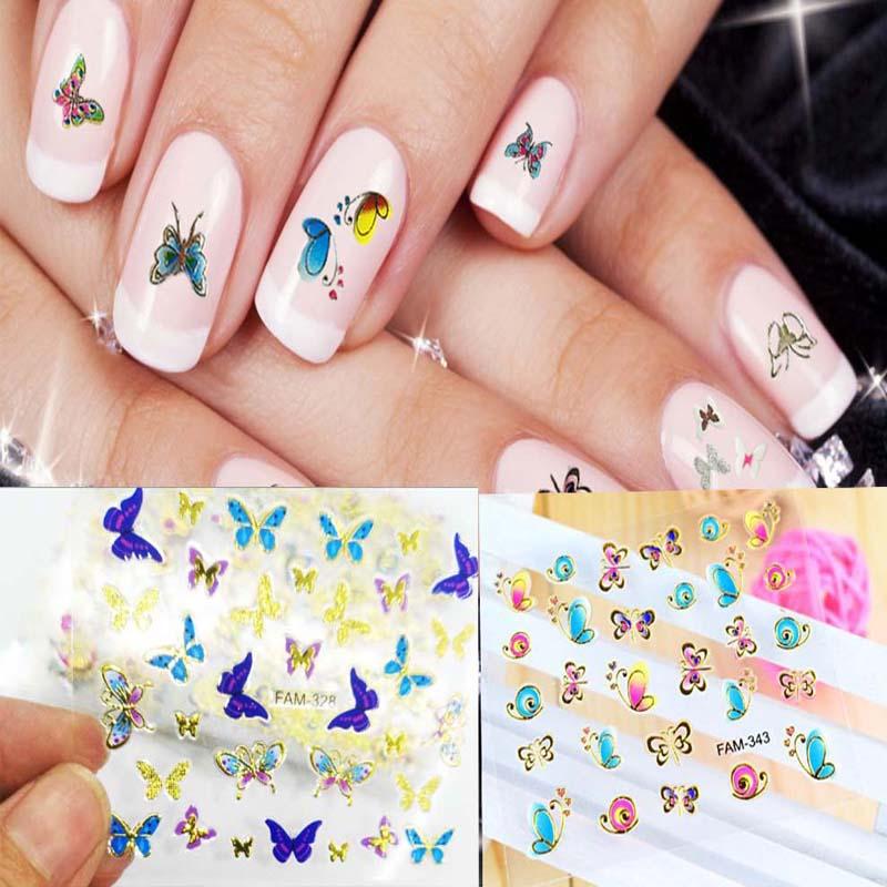 RTYWE 3D adhesivo de uñas de mariposa adhesivo pegatina manicura para decoración de uñas moda agua tobogán calcomanías FAM31-34